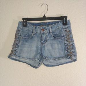 American Rag Cie Womens Juniors Jean Shorts Sz 1